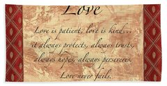 Red Traditional Love Beach Towel