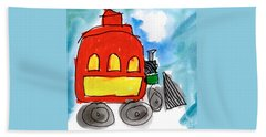Red Train Beach Towel