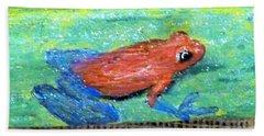 Red Tree Frog Beach Towel by Ann Michelle Swadener