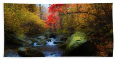 Red Tree In White Oak Canyon Beach Towel