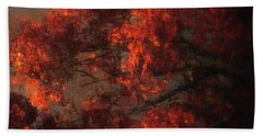 Red Tree Scene Beach Towel by Mikki Cucuzzo