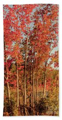 Beach Towel featuring the photograph Red Trees by Iris Greenwell