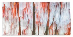 Red Trees On Lake Shore Beach Towel