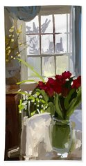 Red Tulips And Forsythia In East Gloucester, Ma Dining Room Beach Sheet