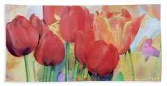 Watercolor Of Blooming Red Tulips In Spring Beach Towel