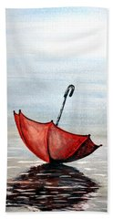 Beach Sheet featuring the painting Red Umbrella by Edwin Alverio