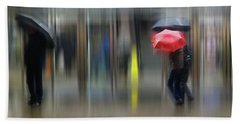 Beach Towel featuring the photograph Red Umbrella by LemonArt Photography