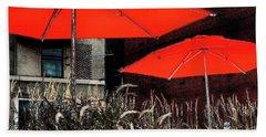 Red Umbrellas In Chicag Beach Towel