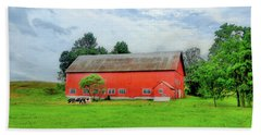 Red Vermont Barn Beach Sheet