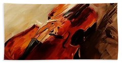 Red Violin  Beach Towel