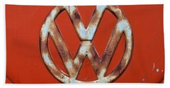 Beach Towel featuring the photograph Red Vw Bus Emblem by Jani Freimann