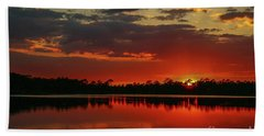 Red Water Sunset Beach Towel