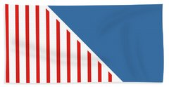 Red White And Blue Triangles Beach Towel by Linda Woods
