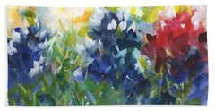 Red White And Bluebonnets Watercolor Painting By Kmcelwaine Beach Towel