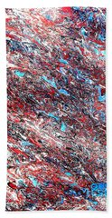 Beach Sheet featuring the painting Red White Blue And Black Drip Abstract by Genevieve Esson