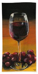 Red Wine And Red Grapes Beach Towel