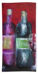 Red Wine Art Beach Towel