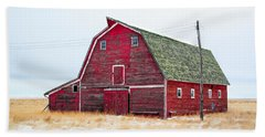 Red Winter Barn Beach Towel