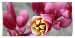 Red Yucca Macro Beach Towel by Russell Keating