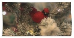 Beach Towel featuring the photograph Redbird Snowy Greetings by Toni Hopper