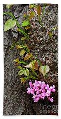 Redbud Flowers 2 Beach Towel by Sarah Loft