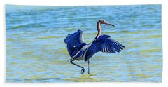 Reddish Egret On The Hunt Beach Towel