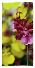 Maroon And Yellow Orchid Beach Towel