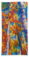 Redemption - Fall Birch And Aspen Beach Towel by Talya Johnson