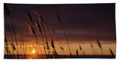 Reeds By Sunset Beach Towel