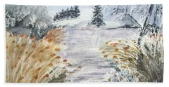 Reeds On The Riverbank No.2 Beach Towel