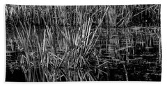 Reeds Reflection  Beach Towel