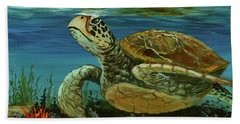 Beach Towel featuring the painting Reef Honu by Darice Machel McGuire