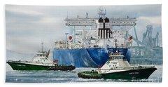 Refinery Tanker Escort Beach Towel