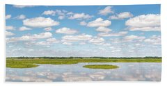 Reflected Clouds - 01 Beach Towel by Rob Graham