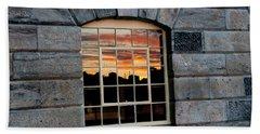 Reflected Sunset Sky Beach Sheet by Helen Northcott