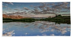 Beach Towel featuring the photograph Reflection In A Mountain Pond by Don Schwartz