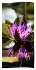 Beach Towel featuring the photograph Reflection In Fuchsia by Suzanne Gaff