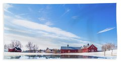 Reflection Of A Barn In Winter Beach Sheet