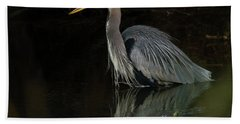 Reflection Of A Heron Beach Towel by George Randy Bass