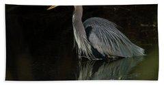 Reflection Of A Heron Beach Towel