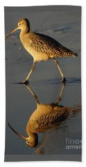 Reflection Of A Curlew At Low Tide Beach Towel by Debby Pueschel