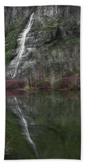 Reflection Of A Waterfall Beach Towel