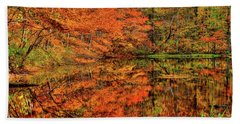 Reflection Of Autumn Beach Towel