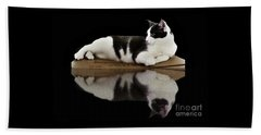 Reflection Of Black And White Cat Beach Towel