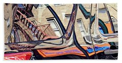 Beach Towel featuring the photograph Reflection On A Parked Car 18 by Sarah Loft