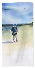 Beach Towel featuring the painting Reflection On A Sunny Day by Frank Bright