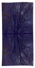 Beach Sheet featuring the photograph Reflection On Trees In The Dark by Joy Nichols