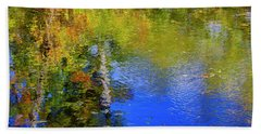 Beach Towel featuring the photograph Reflections In A Pond by Gary Hall