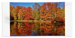 Reflections In Autumn Beach Towel
