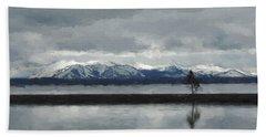 Reflections In Lake Yellowstone Beach Sheet